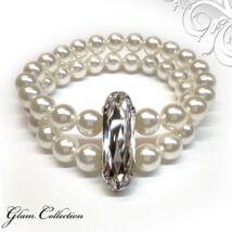 Swarovski kristályos dupla gyöngy karkötő  - White-Crystal