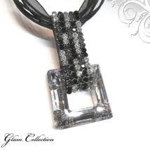 5 kősoros organza szalagos nyakék - Swarovski kristályos - éjfekete