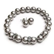 Exkluzív Swarovski kristály szett - karkötő-fülbevaló - Light Grey
