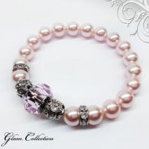 Swarovski gyöngy karkötő - Rosaline, nagyméretű kristállyal - rózsaszín