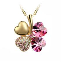 Arany szerencse - rózsaszín - Swarovski kristályos - Medál