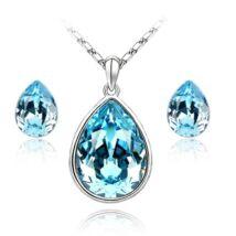 Könnycsepp ékszerszett - kék - Swarovski kristályos