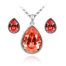 Könnycsepp ékszerszett - piros - Swarovski kristályos