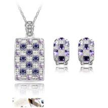 Mozaik ékszerszett - ezüst -lila - Swarovski kristályos