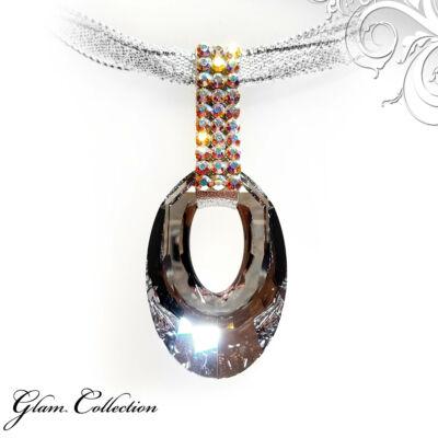 3 kősoros organza szalagos nyakék - Swarovski kristályos - Helios Medál