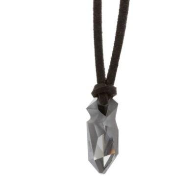 """Kaputt pendant"" -Swarovski medál bőrkötélen- Silver Night"