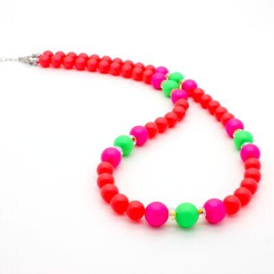 Swarovski gyöngy és kristály nyaklánc -Neon Orange, Neon Pink, Neon Green