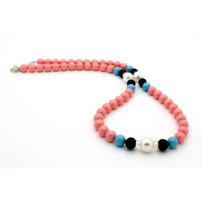 Swarovski gyöngy és kristály nyaklánc -Coral, Turquoise, Mistyc Balck, White