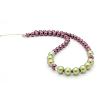 Swarovski gyöngy és kristály nyaklánc - Burgundy, Iridescent Green