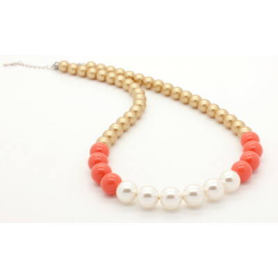 Swarovski gyöngy és kristály nyaklánc - White, Coral, Bright gold