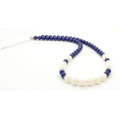 Swarovski gyöngy és kristály nyaklánc - Ivory, Dark Lapis