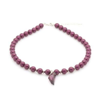 Swarovski gyöngy és kristály nyaklánc - Bordeaux pearl, Lilac Shadow