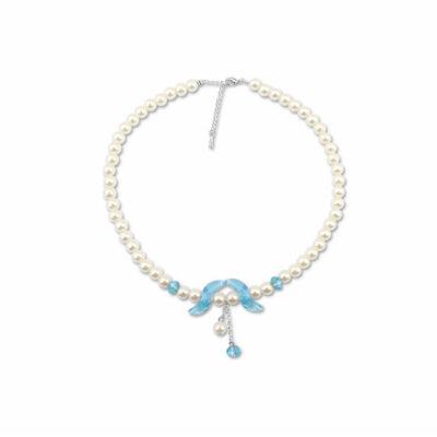 Gyöngy és kő - kék- Swarovski kristályos nyakék