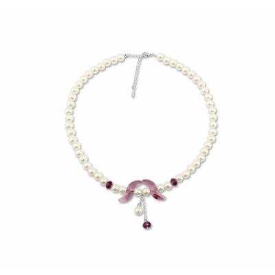 Gyöngy és kő - lila- Swarovski kristályos nyakék