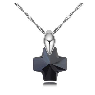 Cross- fekete  - Swarovski kristályos nyaklánc