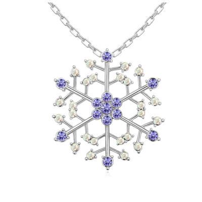 Hópehely-lila- Swarovski kristályos nyaklánc