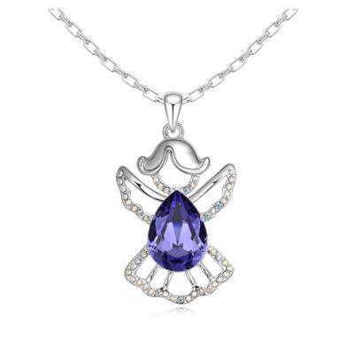 Angyal- lila- Swarovski kristályos nyaklánc