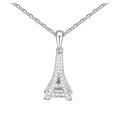 Eiffel-torony- fehér- Swarovski kristályos - Medál