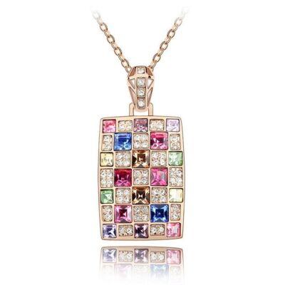 Mozaik nyaklánc - arany-rózsaszín - Swarovski kristályos