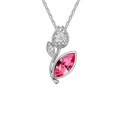 Tündöklő tulipán-rózsaszín- Swarovski kristályos nyaklánc