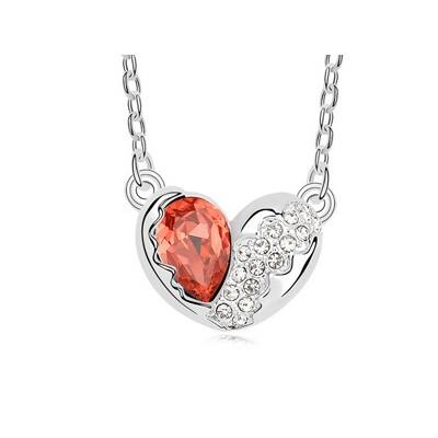 Törött szív - piros- Swarovski kristályos nyaklánc