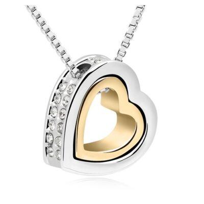 Szív a szívben- arany-ezüst - Swarovski kristályos nyaklánc