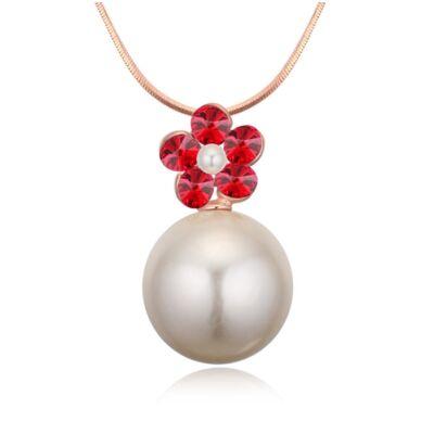 Virág és gyöngy-piros- Swarovski kristályos - nyaklánc