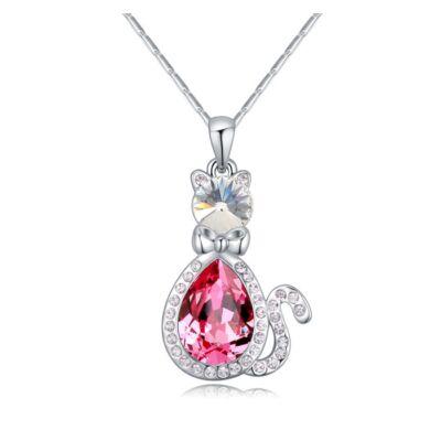 Kristálykandur-rózsaszín- Swarovski kristályos nyaklánc