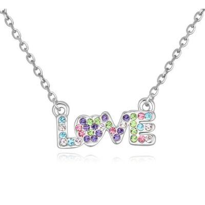 LOVE- színes- Swarovski kristályos nyaklánc