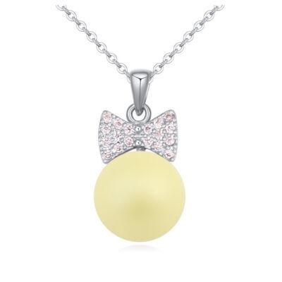 Ajándék  gyöngy- sárga-Swarovski kristályos - nyaklánc
