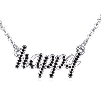 'Boldogság gyere haza...' - fekete- Swarovski kristályos-nyaklánc
