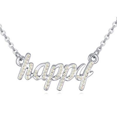'Boldogság gyere haza...' - színjátszófehér- Swarovski kristályos-nyaklánc