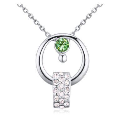 Karikában kristályok- zöld- Swarovski kristályos nyaklánc