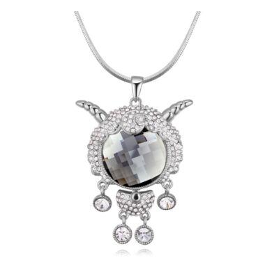 Busó- Swarovski kristályos nyaklánc-ezüst