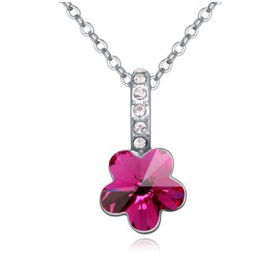 Flower- bordó- Swarovski kristályos nyaklánc