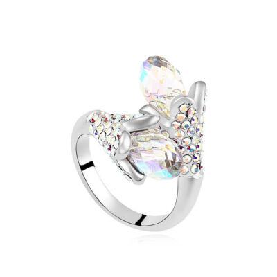 Liliom.- fehér- Swarovski kristályos-gyűrű