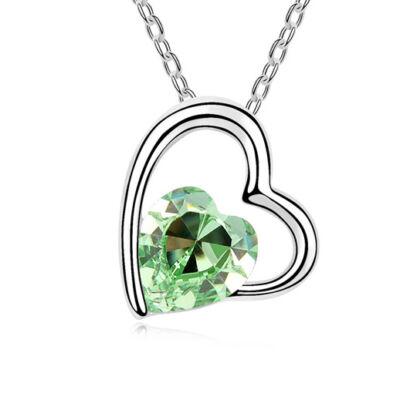 L'amour- halvány zöld- Swarovski kristályos nyaklánc
