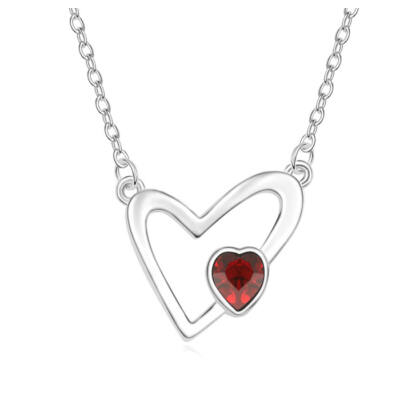 Apró szív- piros- Swarovski kristályos nyaklánc