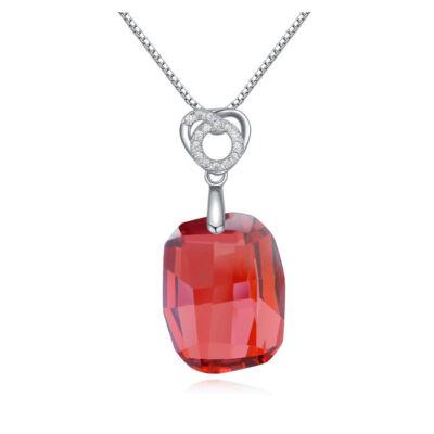 Stone- piros- Swarovski kristályos ezüst nyaklánc