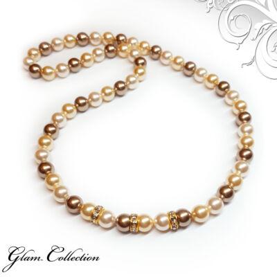 Swarovski gyöngy nyaklánc -Creamrose, Light Gold, Bronze
