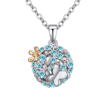 Virágos rét- kék- Swarovski kristályos nyaklánc