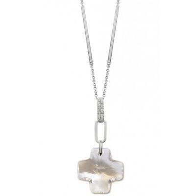 Kereszt- Swarovski kristályos ezüst nyaklánc-fehér