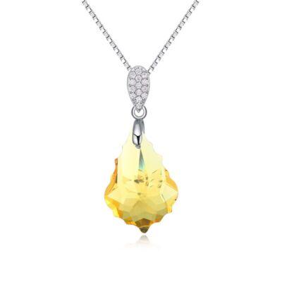 Franciska- Swarovski kristályos ezüst nyaklánc- sárga