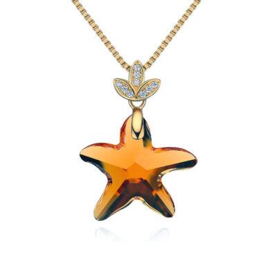 Star- Swarovski kristályos ezüst nyaklánc-borostyán