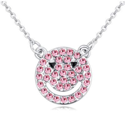 Smiling bear- Swarovski kristályos nyaklánc- rózsaszín