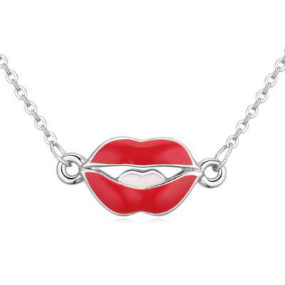 Kiss my lips- ezüst- Swarovski kristályos nyaklánc