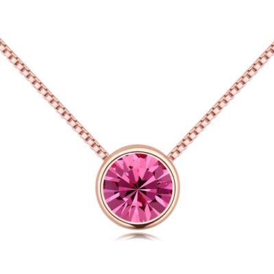 Lelkek tükre- rózsaszín- Swarovski kristályos - Nyaklánc- arany