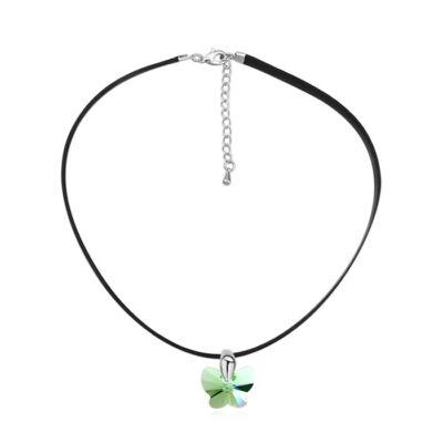 Apró lepke- zöld- Swarovski kristályos- nyakék