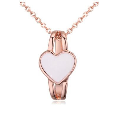 Szívgyűrű- fehér- Swarovski kristályos - nyaklánc