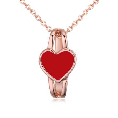 Szívgyűrű- piros- Swarovski kristályos - nyaklánc